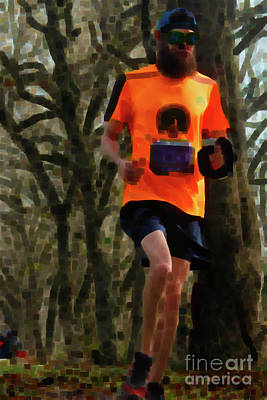 Running On Orange  Art Print by Steven Digman
