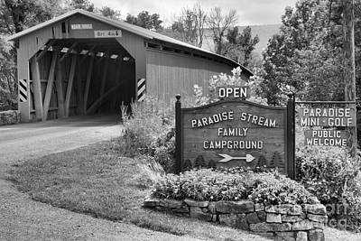 Photograph - Rural Cisna Mill Covered Bridge Black And White by Adam Jewell