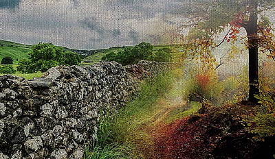 Mixed Media - Rural Countrside On Canvas by Clive Littin