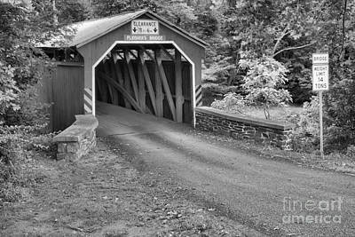 Photograph - Rural Fleisher Covered Bridge Black And White by Adam Jewell
