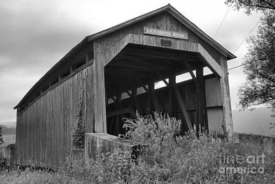Photograph - Rural Kochenderfer Covered Bridge Black And White by Adam Jewell