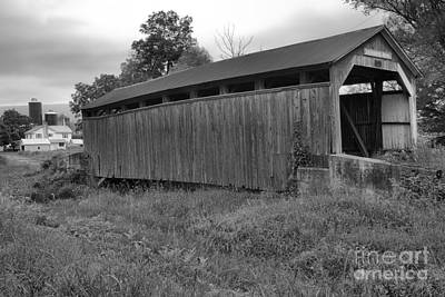 Photograph - Rural Kochenderfer Covered Bridge Landscape Black And White by Adam Jewell