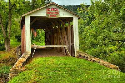 Photograph - Rural Red Covered Bridge by Adam Jewell