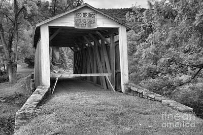 Photograph - Rural Red Covered Bridge Black And White by Adam Jewell