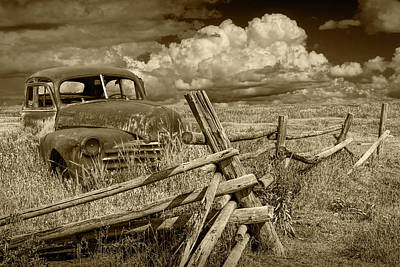 Photograph - Rural Vintage Automobile In Sepia Tone by Randall Nyhof