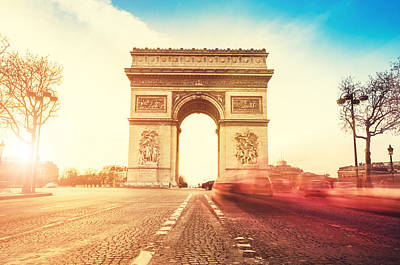 Rush Hour At The Arc De Triomphe In Art Print by Franckreporter