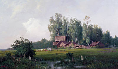 Painting - Russian Farmhouse By D. Kropine, Oil On by Superstock