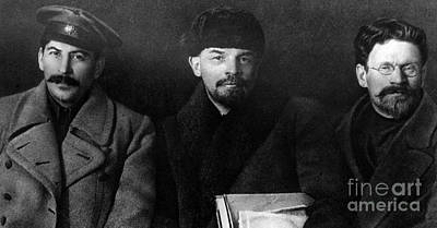 Photograph - Russian Revolutionaries Leaders Josef Stalin, Vladimir Lenin And Mikhail Kalinin In 1919 by Russian School