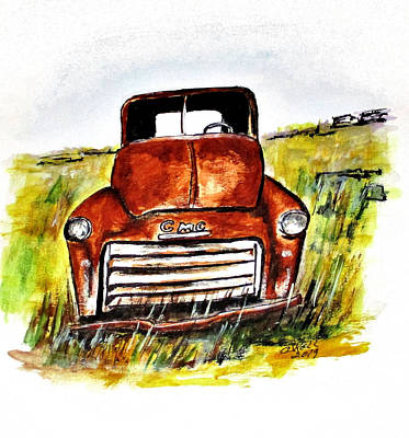 Painting - Rusted Farm Truck by Clyde J Kell