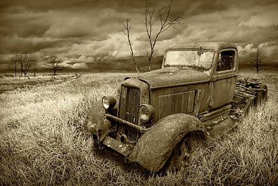 Photograph - Rusted Vintage Truck In A Grassy Rural Field Landscape In Sepia Tone by Randall Nyhof