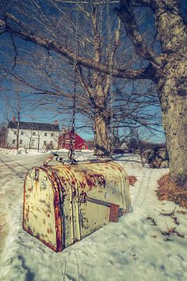 Photograph - Rustic Mailbox On Winter Farm by Joann Vitali