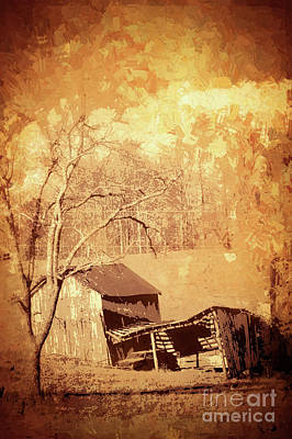 Photograph - Rusting Car In A Decaying Barn Fx by Dan Carmichael