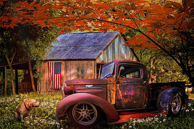 Photograph - Rusty Old Truck On The Farm In Autumn by Debra and Dave Vanderlaan