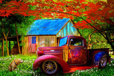 Photograph - Rusty Old Truck On The Farm Painting by Debra and Dave Vanderlaan