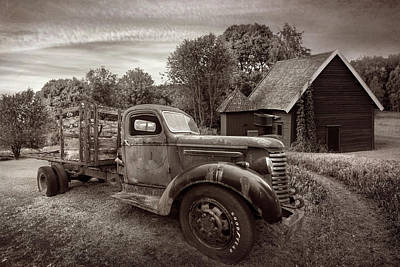 Photograph - Rusty Truck In The Rural Countryside In Vintage Sepia by Debra and Dave Vanderlaan