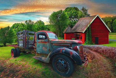 Photograph - Rusty Truck In The Rural Countryside Watercolor Painting by Debra and Dave Vanderlaan