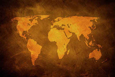 Topography Wall Art - Photograph - Rusty World Map by Caracterdesign