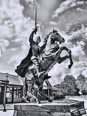 Recently Sold - Fantasy Royalty-Free and Rights-Managed Images - Rutgers Victory Statue # 1 - B and W by Allen Beatty