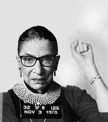 Painting - Ruth Bader Ginsburg Fonda Mug Shot by Tony Rubino