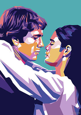Target Threshold Painterly - Ryan ONeil and Ali MacGraw by Stars on Art