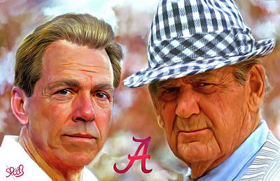 Sports Paintings - Saban and Bear by Mark Spears