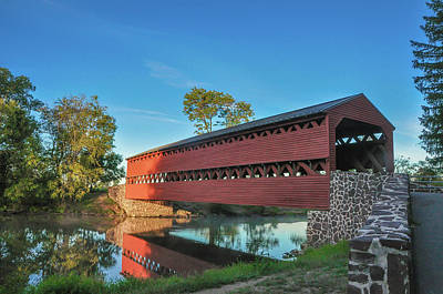 Photograph - Sachs Covered Bridge - Gettysburg In The Morning Light by Bill Cannon