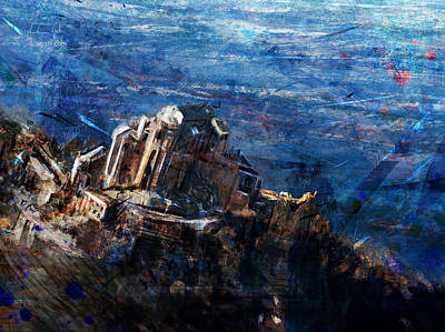Surrealism Digital Art - Sacra San Michele Aerial View by Andrea Gatti