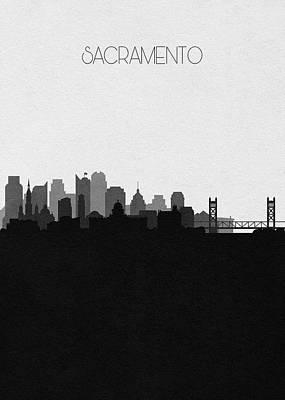 Skyline Drawing - Sacramento Cityscape Art V2 by Inspirowl Design