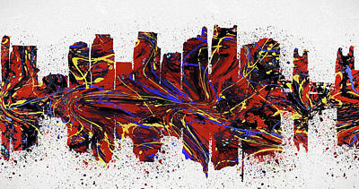 Painting - Sacramento Colorful Skyline by Dan Sproul