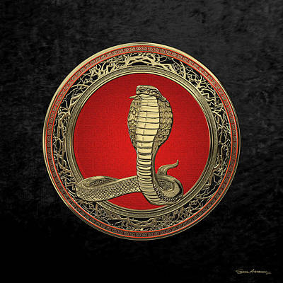 Digital Art - Sacred Gold King Cobra On Black Canvas by Serge Averbukh