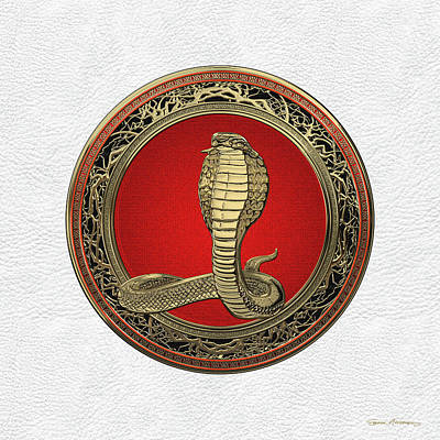 Digital Art - Sacred Gold King Cobra On White Leather by Serge Averbukh