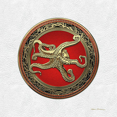 Digital Art - Sacred Gold Octopus On White Leather by Serge Averbukh