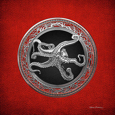 Digital Art - Sacred Silver Octopus On Red Leather by Serge Averbukh