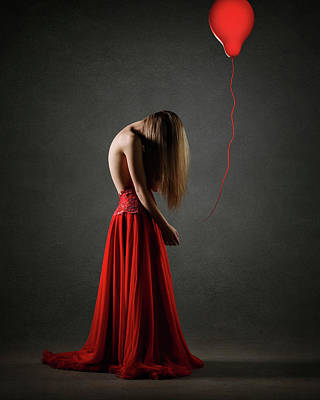 Lost Wall Art - Photograph - Sad Woman In Red by Johan Swanepoel