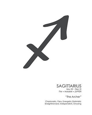 Mixed Media Royalty Free Images - Sagittarius Print - Zodiac Signs Print - Zodiac Posters - Sagittarius Poster - Black and White Royalty-Free Image by Studio Grafiikka