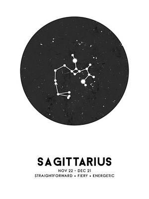 Mixed Media Royalty Free Images - Sagittarius Print - Zodiac Signs Print - Zodiac Posters - Sagittarius Poster - Night Sky - Stars Royalty-Free Image by Studio Grafiikka