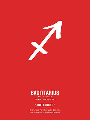 Royalty-Free and Rights-Managed Images - Sagittarius Print - Zodiac Signs Print - Zodiac Posters - Sagittarius Poster - Red and White by Studio Grafiikka