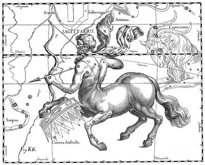Drawing - Sagittarius, The Zodiacal Constellation Of The Archer by Johann Hevelius