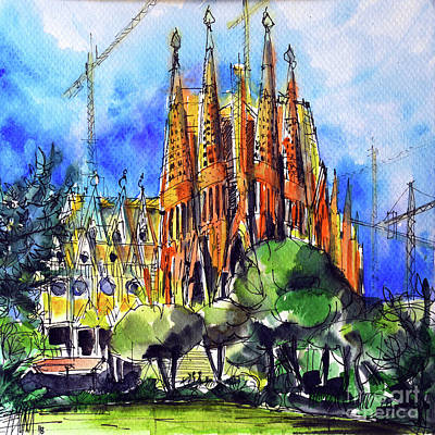 Antoni Gaudi Wall Art - Painting - Sagrada Familia Barcelona Watercolor Painting Mona Edulesco by Mona Edulesco