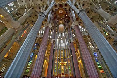 Photograph - Sagrada Familia Cathedral Interior by Victor Korchenko