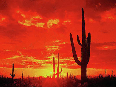 Madonna - Saguaro National Park at sunset - 04 by AM FineArtPrints