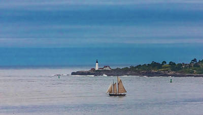 Airplane Paintings - Sailboat at Lighthouse by Darryl Brooks