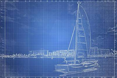 Photograph - Sailboat Blueprinted by Alice Gipson
