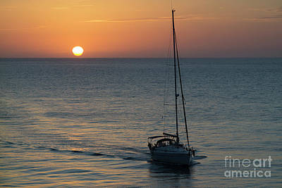 Photograph - Sailboat Heading Home At Sunset Cadiz Spain by Pablo Avanzini