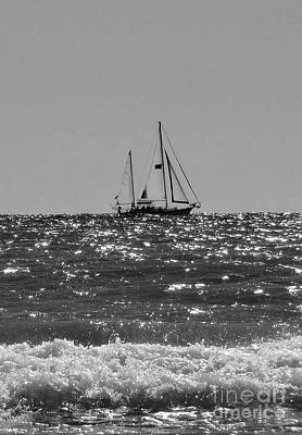 Sea Wall Art - Photograph - Sailboat In Black And White by Megan Cohen