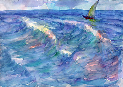 Painting - Sailboat In The Sea by Dobrotsvet Art