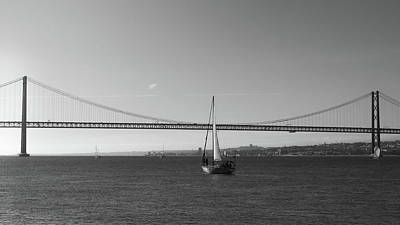 Photograph - Sailboat Near 25 April Bridge, Lisbon by Alexandre Rotenberg