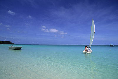 Recreational Boat Photograph - Sailboat On Crystal Blue Water by Tammy616