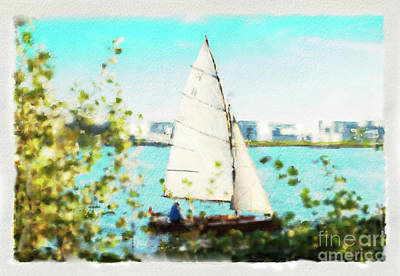 Mixed Media - Sailboat On The River Watercolor by Marina Usmanskaya