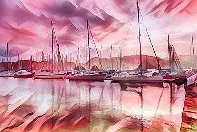 Photograph - Sailboat Reflections At Sunrise Abstract by Debra and Dave Vanderlaan